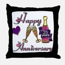 Cute 25th wedding anniversary Throw Pillow