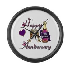 Cute 25th anniversary Large Wall Clock