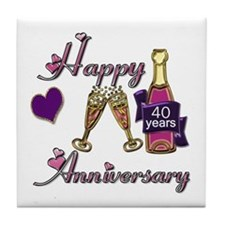 Funny 40th anniversary Tile Coaster