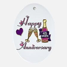 Cute 45th wedding anniversary Oval Ornament
