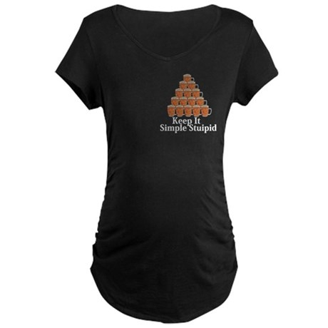 Keep It Simple Stupid Logo 7 Maternity Dark T-Shir