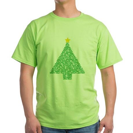 Christmas Tree Words Green T-Shirt