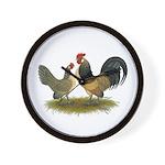 Dutch Blue Quail Chickens Wall Clock