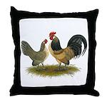 Dutch Blue Quail Chickens Throw Pillow