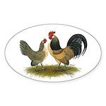 Dutch Blue Quail Chickens Sticker (Oval)