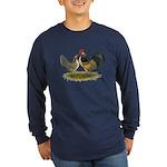 Dutch Blue Quail Chickens Long Sleeve Dark T-Shirt