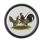 Dutch Blue Quail Chickens Large Wall Clock