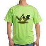 Dutch Blue Quail Chickens Green T-Shirt