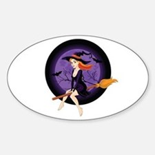 Red Headed Witch Sticker (Oval)