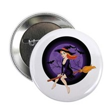"""Red Headed Witch 2.25"""" Button"""