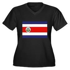 COSTA RICA Women's Plus Size V-Neck Dark T-Shirt