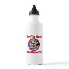 Save The World Vote Democrat Water Bottle