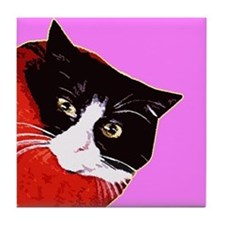 Cat So Fluff Hot Pink Tile Drinks Coaster