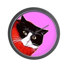 Cat So Fluff Round pop art hot pink Wall Clock