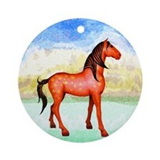 Funny Spanish mustang Ornament (Round)