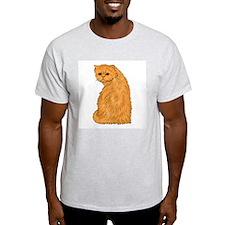 Red Persian Cat Portrait Ash Grey T-Shirt