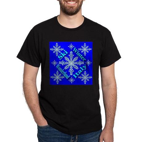 Ski Italy Winter Wonderland Black T-Shirt