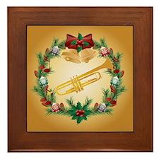 Christmas Trumpet Music Framed Tile