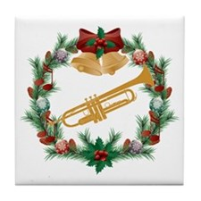 Christmas Trumpet Music Tile Coaster