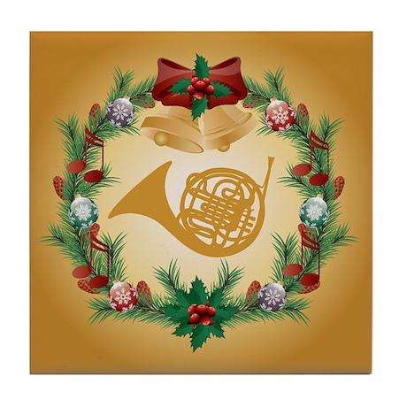 Christmas French Horn Tile Coaster