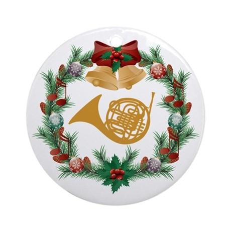 Christmas French Horn Ornament (Round) by milestonesmusic