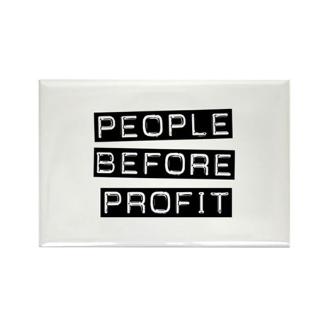 People Before Profit Rectangle Magnet