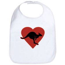 Kangaroo Love Red Heart Bib