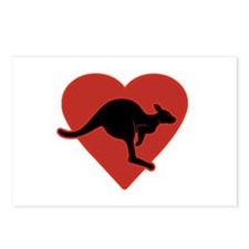 Kangaroo Love Red Heart Postcards (Package of 8)