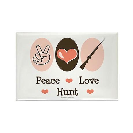 Peace Love Hunt Rectangle Magnet (10 pack)