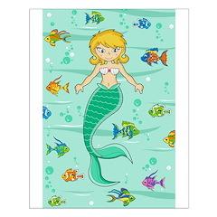 Cute Mermaid and Fish Poster (Small)