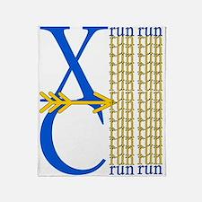 XC Run Royal Blue Gold Throw Blanket