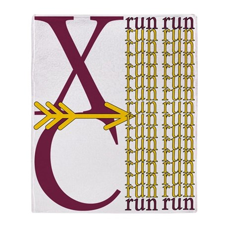 XC Run Maroon Gold Throw Blanket