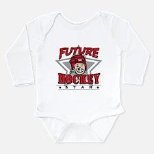 Future Hockey Star Red Long Sleeve Infant Bodysuit