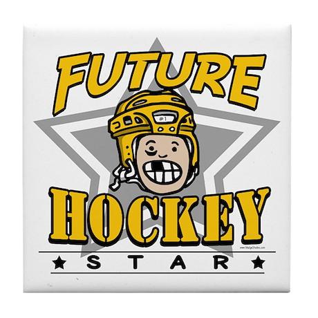 Future Hockey Star Yellow Tile Coaster