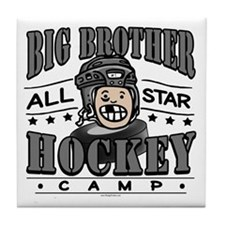 Big Brother Hockey Black Tile Coaster