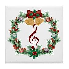 Treble Christmas Music Tile Coaster