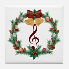 Treble Christmas Music Tile Coaster