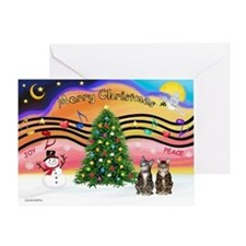 X-Music2-2 Tabbys (brn) Greeting Card