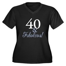 40 and Fabulous Women's Plus Size V-Neck Dark T-Sh