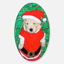Santa Claus Puppy Christmas Sticker (Oval)