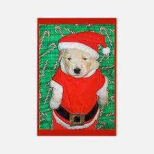 Santa Claus Puppy Christmas Rectangle Magnet