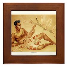 Male Hawaiian Ukulele Player Framed Tile