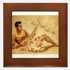 Male Hawaiian Ukulele Player Framed Tile