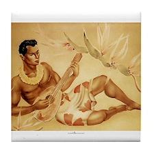 Male Hawaiian Ukulele Player Tile Coaster