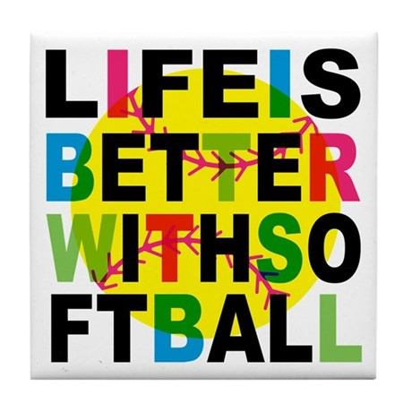 Girls Softball Tile Coaster