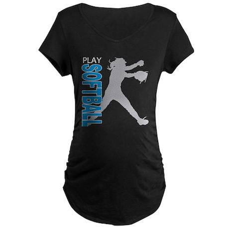 Girls Softball Maternity Dark T-Shirt