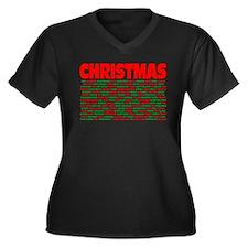 Christmas Words Women's Plus Size V-Neck Dark T-Sh