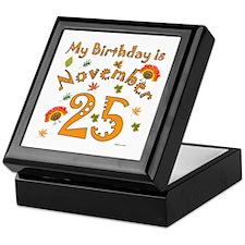 Thanksgiving Nov. 25th Birthday Keepsake Box