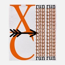 XC Run Orange Black Throw Blanket