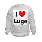 I Love Luge (Front) Kids Sweatshirt